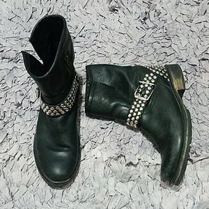 Steve Madden Studded Leather Moto Boots